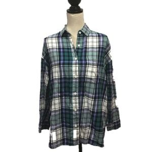 Old Navy Plaid Button Down Boyfriend Shirt M